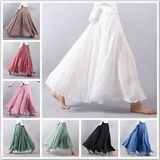 Summer Women's Linen Pleated Maxi Long Beach Boho Vintage Casual Dress Skirt