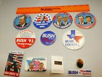Vintage Rare Collectible LOT 12 Pins and Buttons Bush Quayle 92 For President