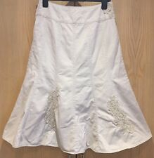 Phase Eight Skirt Size UK 10 Cream Beige 100% Cotton Floral Ladies Women's Calf