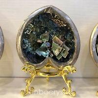 1PC Rainbow BismuthOre Heart Quartz Crystal geode Mineral Specimen Healing+stand