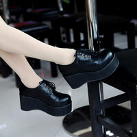 Retro Womens Creeper Wedge Chunky Heels Round Toe Platform Lace Up Oxford Shoes