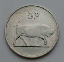 Ireland, Eire 5 Pence 1976. KM#22. Five Cents coin. Bull. Animals. Harp.
