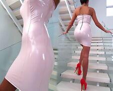 KLEID ROSA LEDER OPTIK LACK GLANZ MADE ITALY DAMEN T55 LEATHER LOOK DRESS S/M