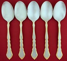 5 Oneida GOLDEN ROYAL CHIPPENDALE Community Stainless Oval Soup DINNER SPOONS
