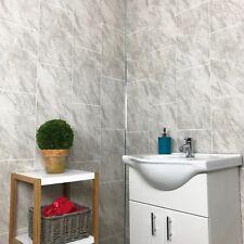 10 Grey Marble Tile Effect Bathroom Shower Wet Wall PVC Cladding Panels 8mm