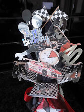 Racing car pop up card & stand personalised Birthday/ Fathers Day,any age