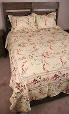 King Quilt Set Cottage Shabby Chic Floral Garland Rose Cotton