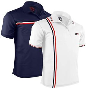 Albert Morris Men's Striped Short Sleeve Polo Shirt, Two Pack White/Blue M & L