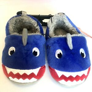 Wonder Nation Baby Boy Plush Shark Slippers House Shoes Rubber Sole Size 6