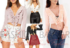 Womens Bell Sleeve Eyelet Lace Front Tie Up Ruffle Frill Party Holiday Crop Top