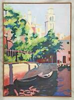 Venice Italy Vintage Original Naive Impressionist Painting  Gondolas Side Canal