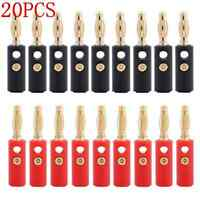 20pcs 4mm lot Gold Plated Audio Speaker Wire Cable Banana Plug Connector Adapter