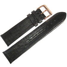 17mm Fluco Black Teju Lizard-Grain Leather ROSE GOLD Buckle Watch Band Strap Men