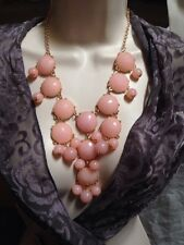 "NEW 16"" Soft Pink Faux Gem and Gold Finish Necklace"