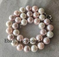 12mm weiß rosa & lila mehrfarbig Muschelperle  Halskette 45 cm