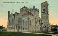 Akron Ohio~First Congregational Church~1911 Postcard