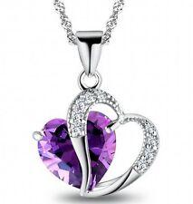 Womens Chic Purple Gemstone Heart necklace Chain Pendant Crystal wedding Jewelry
