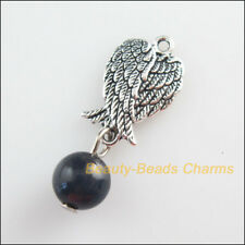 6 New Bird Wings Charms Black Cat Eye Beads Pendants Tibetan Silver Tone 11x30mm