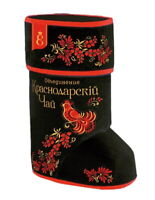 KRASNODAR TEA black large-leaf tea in  souvenir, gift box, Russian felt boots