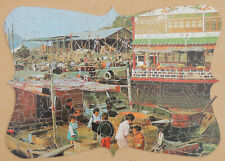 VINTAGE ERIC PEDLEY WOODEN JIGSAW PUZZLE. HOUSES IN HONG KONG 364-PIECE