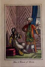 IRÁN, PERSIA  habitantes, aguafuerte original, primera mitad siglo XIX