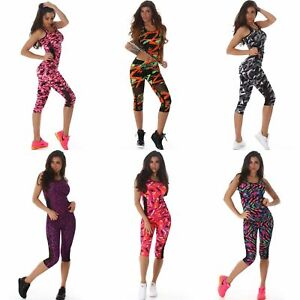 Sexy Womens Gym Fitness Top Capri Leggings Running Sports Yoga Workout Tracksuit