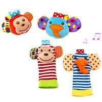 4x Baby Wrist Rattle and Foot Rattles Set Developmental Soft Animal Rattles Toys