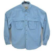 LL Bean Mens Long Sleeve Fishing Shirt Sz L Blue Vented Lightweight Pocket Nylon