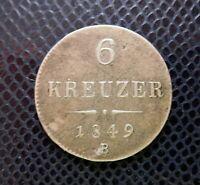 AUSTRIA - HUNGARY / SILVER 6 KREUZER / 1849 B / Kremnitz rare mintmark!