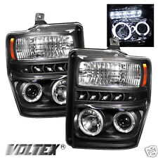2008-2010 FORD F250 350 SUPER DUTY HALO LED PROJECTOR HEADLIGHTS LIGHTBAR BLACK