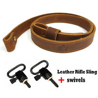 "Brown Leather Rifle Sling Shotgun Gun Strap + 1"" Swivels + Wood Screw Studs"