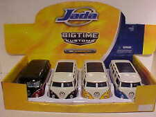 Pack of 4 VW Volkswagen Bus 1962 Samba Die-cast Car 1:24 by Jada Toys 8 inch WW