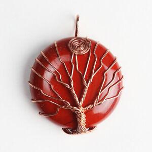 Amethyst Tigers Eye Jasper Crystal Quartz Round Wire Wrap Tree of Life Pendant