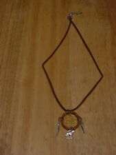 DREAMCATCHER WOLF FEATHER NECKLACE ( LIGHT BROWN )
