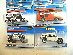 LOT OF 4 HOT WHEELS>>2 HUMMERS>>LONDON BUS>>DAIRY DELIVERY>>>NEW>>>NEVER OPENED