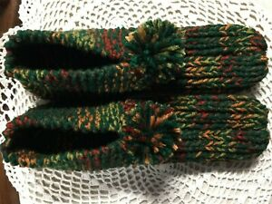 Adult Amish Handmade Slippers Hunter Green/Fall Mix Wms XX Large Mans X Lg 11""