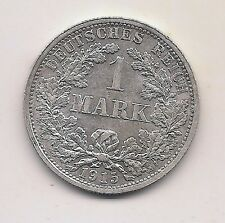 1915-F  Germany Silver One Mark-- Very Strong Details !!