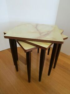 Vintage FORMICA Marble Laminate MidCentury Modern 3 Stacking Nesting Tables 1960
