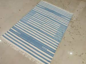 Handwoven 4'x6'  Blue & White Reversible Cotton Yoga Rug Dhurrie Rug Flat Weave