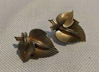 Vintage Marboux Marcel Boucher  Clip Earrings Gold Tone Leaves Design