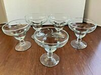 """5 Vintage Stemmed Shrimp Cocktail Glasses Etched Leaf Design 4.5""""x4.5"""""""