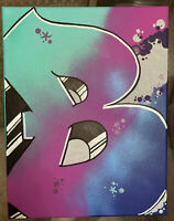 "Graffiti ""B"" 11x14 spray paint and marker Art on Canvas signed original"