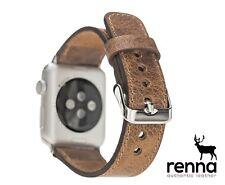 Apple Watch Echtleder Armband Braun, iWatch 5-4-3-2-1Ersatzarmband 38-40&42-44mm