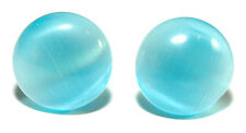 PALE BLUE FIBER OPTIC CATS EYE STUD EARRINGS (S084)