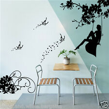 Swinging Girl Swing Butterfly Wall Sticker Decal Removable Home Nursery Decor