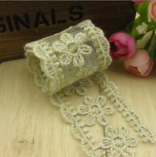 2 Yards Gold Flower Lace Wedding Dress Sewing Trim Hair Ornaments Accessories