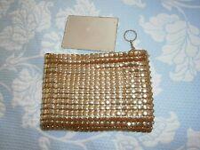 Vintage Whiting  Davis Gold Metal Mesh Bag Small Purse Cosmetic Bag Clutch Bag