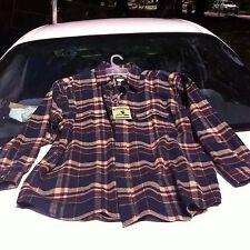 Men's Heavy Flannel Field & Stream LS Shirt, Plaid Size XLT, Navy Blue/Brown