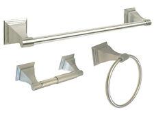 "Satin Nickel Bathroom Accessories Hardware 3 PC Combo 18"" Towel Bar Hook Holder"