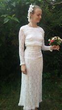Vintage Original 60s White Chantilly lace Empire Line Wedding Dress Petite 6